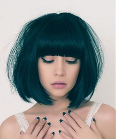 medium black straight coloured bob extensions womans hairstyles #bob