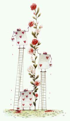 Spielkarten die die Rosen strechen. Auf Leitern stechen sie evtl. mehr herraus.