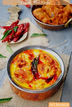 US Masala: Pyaz Ke Pakode Wali Kadhi/ Onion fritters in spicy yogurt curry sauce