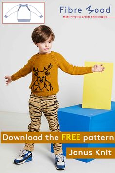 Knitting instructions: Janus children's jumper Kids Knitting Patterns, Knitting For Kids, Sewing For Kids, Sewing Patterns Free, Free Knitting, Baby Knitting, Free Pattern, Free Sewing, Janus