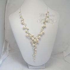 Pearl Necklace for Weddings Cluster Bridal by adriajewelry on Etsy