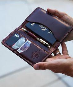 Train Station Platform Leather Passport Holder Cover Case Travel One Pocket