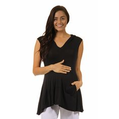 24/7 Comfort Apparel Women's Sleeveless Maternitytunic Hoodie with A Kangaroo Pocket (-S)