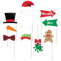 Creative Converting Christmas Photo Booth Props - Set of 10 Christmas Pajama Party, Christmas Hat, Xmas Party, Christmas Crafts, Grinch Party, Birthday Parties, Pj Party, Christmas Snacks, Work Party