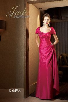 Long tafetta gown with shawlero ~ stunning colors from mirellas.ca