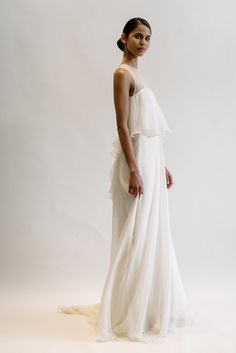 """Daria"" Amsale Spring 2016 - Silk chiffon layered gown with hand beaded crystal back."