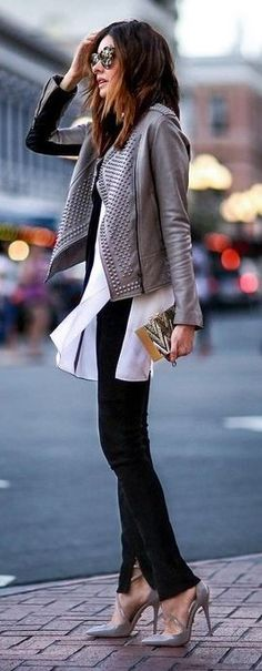 #Street #Fashion | Lavender Biker Jacket, White Long Blouse, Black Pants, Grey Heels | Fashioned CHIC