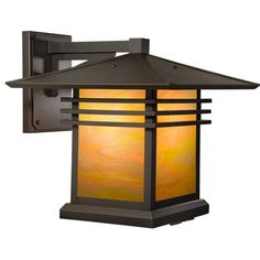 """America's Finest Lighting Company Mariposa 1 Light Outdoor Wall Lantern Finish: Old Penny, Shade Finish: Champagne, Size: 12.25"""" H x 12"""" W x 14"""" D"""