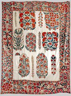 Suzani / Dowry Embroidery Nurata / Shakhrisyabz (1840s, silk on cotton with bokhara couching, and tambour stitches)
