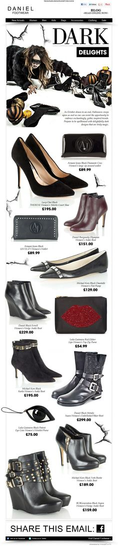 Dark Delights - Halloween Sales Newsletter from Daniel Footwear.