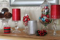 Apothecary Jars with mini ornaments
