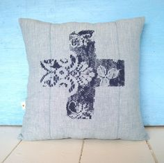 Vintage Lace & Vintage Cotton Denim Cushion