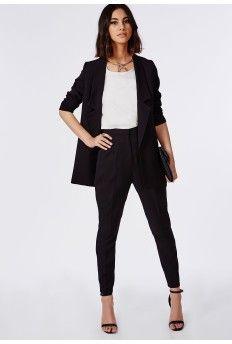 Premium High Waisted Cigarette Suit Trousers Black