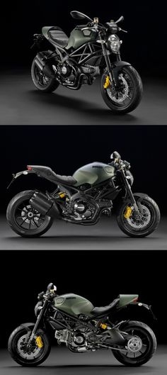 Ducati Monster Diesel. Ducati & Diesel teamed up to create a master piece. Green Military Chic. I love bikes and love green, this is perfect