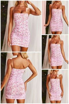 Color: Pink, Blue Pattern Type: Print Style: STREETWEAR Material: Polyester, Lanon The post Print Spaghetti Strap Ruched Sexy Skinny Mini Dresses appeared first on TD Mercado. Midi Skirts, Midi Dresses, Short Dresses, Fashion Prints, Fashion Styles, Fashion Design, Pinterest Fashion, Chiffon Maxi Dress, Girls Party Dress