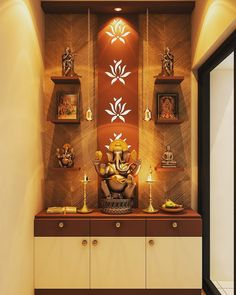 Mandir Design For Living Room The small puja mandir temple designs comprise wall mounted units shelf ideas and standalone cabinets. Because you deserve admirable things in your lif. Pooja Room Door Design, Foyer Design, Ceiling Design, Sofa Design, Temple Room, Home Temple, Home Entrance Decor, Modern Entrance, Temple Design For Home
