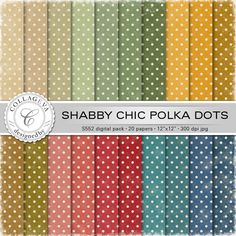 "Shabby Chic Polka dots Digital Paper Pack, 20 printable sheets, 12""x12"" Vintage dots pattern, Textured, green ocher beige red blue (S552) by collageva on Etsy"