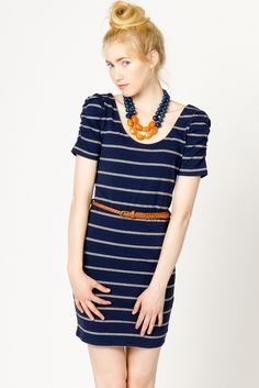 Striped Puff Sleeve Dress in Navy