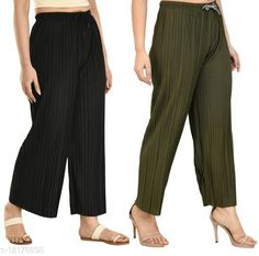 Checkout this latest Palazzos Product Name: *Gladly Women's Solid beautifull Pallazzos for women and Girls 2Pcs Combo* Fabric: Polyester Pattern: Textured Multipack: 2 Sizes:  28 (Waist Size: 28 in, Length Size: 37 in)  30 (Waist Size: 30 in, Length Size: 37 in)  32 (Waist Size: 32 in, Length Size: 37 in)  34 (Waist Size: 34 in, Length Size: 37 in)  36, 38 Easy Returns Available In Case Of Any Issue   Catalog Rating: ★4 (347)  Catalog Name: Fancy Fabulous Women Palazzos CatalogID_2330673 C79-SC1039 Code: 544-12178898-6711
