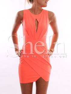 Orange Sleeveless Bodycon Dress 13.99