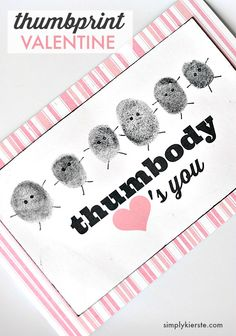 Darling and personalized thumbprint valentines, perfect for grandparents, teachers, friends, and more! Easy to make, and the free printable is included.