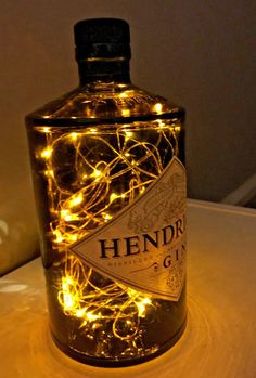 Hendricks Gin Glass Bottle 70cl, Lamp/Light 50 Micro LED Lights. | Collectables, Breweriana, Drinkware, Glasses & Steins | eBay!