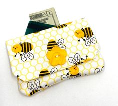 Bumble Bee Fabric Card Wallet, Credit Card Holder, Gift Card Case by OnTheRoadMama on Etsy www. Fabric Cards, Fabric Gifts, Bee Fabric, Handmade Gifts For Friends, Credit Card Wallet, Credit Cards, Bee Cards, Handmade Wallets, Etsy Crafts