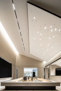 Office Ceiling Design, Open Office Design, Interior Ceiling Design, Lobby Interior, Retail Interior, Interior Design Living Room, Commercial Design, Commercial Interiors, Aesthetic Space