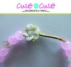 Pulsera rosa con tubito de oro laminado delicada y llena de brillo #CuteSoCute