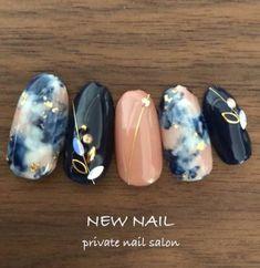 25 Marble Nail Design with Water & Nail Polish design Nails black marble nailart 54 ideas Black Marble Nails, Marble Nail Art, Black Nails, Nail Art Designs, Marble Nail Designs, Navy Nail Designs, Navy Nails, Water Nails, Nailart