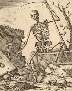 Giuseppe Maria Mitelli,   Death, 1675 La Danse Macabre, Macabre Art, Arte Horror, Horror Art, Memento Mori, Creepy History, Maleficarum, Dance Of Death, Death God