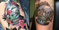 Snow Globe Tattoos: Snowy Winter Landscapes