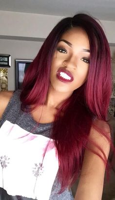 Brazilian Ombre Hair Straight Lot With Closure Black And Burgundy Hair Two Tone Red Human Hair Extensions Weave Hairstyles, Pretty Hairstyles, Straight Hairstyles, Hairstyle Ideas, Ombre Hair Extensions, Human Hair Extensions, Love Hair, Gorgeous Hair, Curly Hair Styles