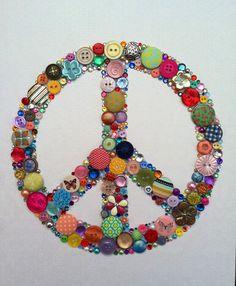 Multicolored Peace Sign Buttons Brads Swarovski Rhinestones Icon Custom Wall Art. $65.00, via Etsy.