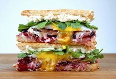 Grilled Cheese Social: The Dilly Dally - Humboldt Fog, Ricotta, cherry preserves, proscuitto, duck egg, and arugula grilled cheese