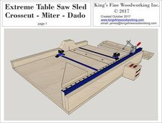 Table Saws Plans for the Extreme Crosscut Miter Dado Table Saw Sled - Woodworking Saws, Learn Woodworking, Woodworking Crafts, Woodworking Equipment, Woodworking Furniture, Woodworking Tutorials, Unique Woodworking, Woodworking Magazine, Table Saw Sled