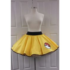 PandorasProductions Pikachu Skirt ($69) ❤ liked on Polyvore featuring skirts, grey, women's clothing, clear skirts, long gray skirt, gray skirt, long skirts and long grey skirt