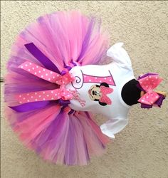 Girls Pink Purple Polka Dot Minnie Mouse Tutu Outfit