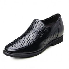 Black breathable hollow out business elevator sandals height increasing 6.5cm / 2.56inches tall men sandals