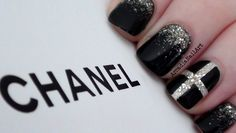 Chanel Inspired Nail Art Design with a golden glitter gradient underneath a transparent cross. ❂How To Paint Your Nails - http://youtu.be/ekSu9_ImQ8s ❀How To...