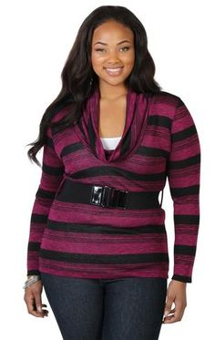 plus size cowl neck tunic sweater with belt