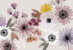 Wow, how pretty is this?  Subtle and tender floral pattern.  Textile Designer: Mathilde Bregeon