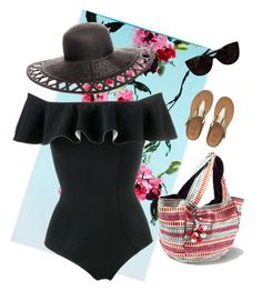"""""""Beach Glam"""" by heather-petersen ❤ liked on Polyvore featuring Designers Guild, FitFlop, Tiffany & Co., Steve Madden, San Diego Hat Co., Lisa Marie Fernandez, floral, beach, hat and towel"""