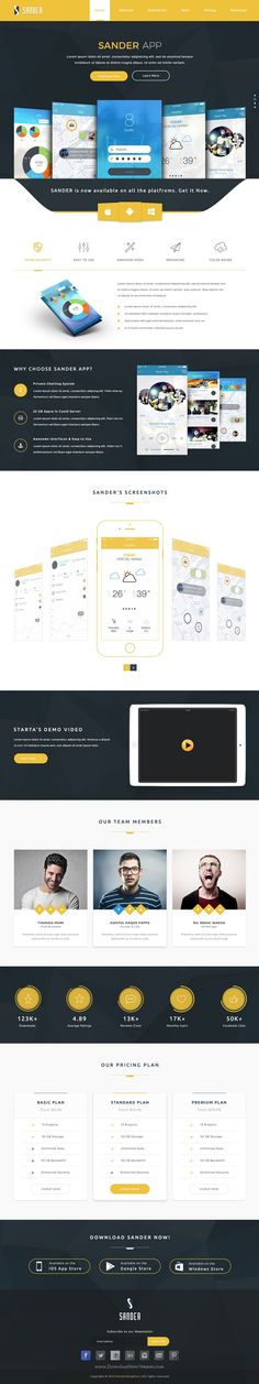 Sander is a clean and creative App Landing PSD Template for the app of all platforms.
