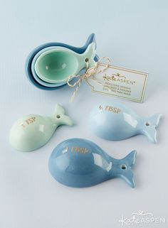 Ceramic Whale Shaped Measuring Spoons- Want the recipe for a great wedding favor? How about a pinch of style and a dash of function? Our Ceramic Whale Shaped Measuring Spoons are the perfect favor for a stock the kitchen bridal shower or any other ce Cheap Favors, Beach Wedding Favors, Unique Wedding Favors, Bridal Shower Favors, Unique Weddings, Nautical Wedding, Wedding Reception, Wedding Venues, Wedding Souvenir