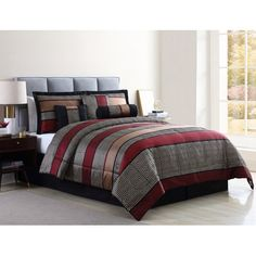 Mainstays Full or Queen Preston Woven Jacquard Red Comforter Set, 7 Piece Red Comforter Sets, Red Bedding, Vintage Bedroom Styles, Rustic Comforter, Bed Stand, Striped Bedding, Make Your Bed, Geometric Patterns, Bed Design