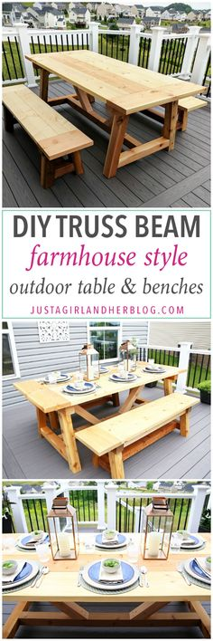 DIY Truss Beam Farmhouse Style Outdoor Table And Benches (Restoration  Hardware Inspired