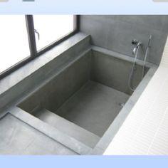 Walk-in concrete bath (Diy Bathroom Tub) Concrete Bathtub, Sunken Bathtub, Diy Bathtub, Bathroom Tub Shower, Bathtub Remodel, Tub Shower Combo, Small Bathroom, Bathtub Ideas, Bath Tubs