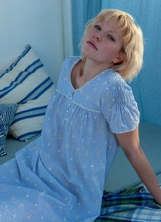 A practical midi length, our embroidered stripe cotton nighty makes an ideal nightwear option for long summer nights thanks to its lightweight while the design remains attractive. Night Wear Dress, Night Dress For Women, Night Gown, Cotton Nighties, Polka Dot Maxi Dresses, Stylish Blouse Design, Nightgowns For Women, Pregnancy Outfits, One Piece Dress