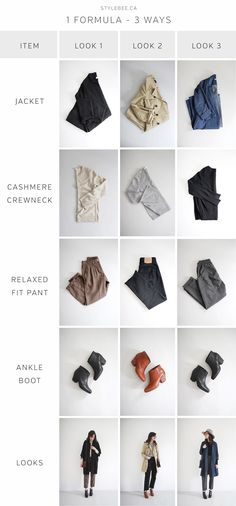 Style Bee - 1 Formula - 3 Ways Capsule Outfits, Fall Capsule Wardrobe, New Outfits, Denim Duster, Mode Simple, Black Pea Coats, Straight Trousers, Minimalist Wardrobe, Simple Wardrobe